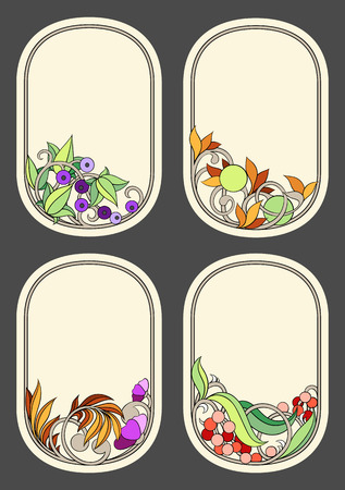 set of labels in the Art Nouveau style (series) Vector