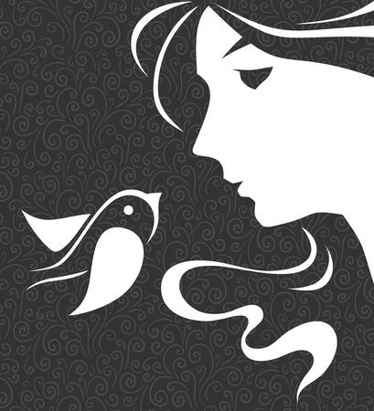 visage femme profil: la beauté et l'oiseau Illustration