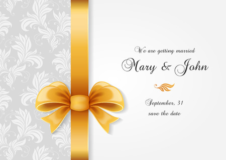 Wedding invitation. Greetings card with ornate bow and elegance pattern Illustration