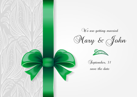 silk ribbon: Wedding invitation. Greetings card with ornate bow and elegance pattern Illustration