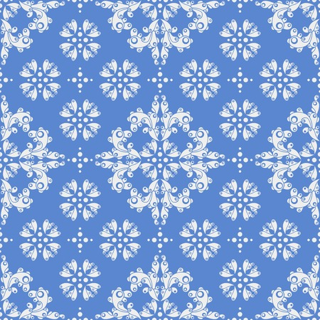 d cor: retro seamless pattern on blue backdrop