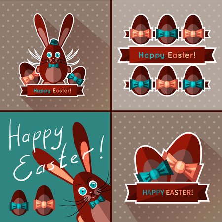 derby hats: Set of cards for Easter. Sweet chocolate bunny and eggs. Vector template with flat design