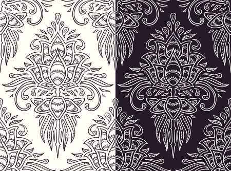 art deco design: seamless pattern (dark and white variations)