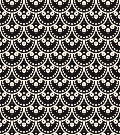 Vector seamless pattern, scaly ornament, art-deco style