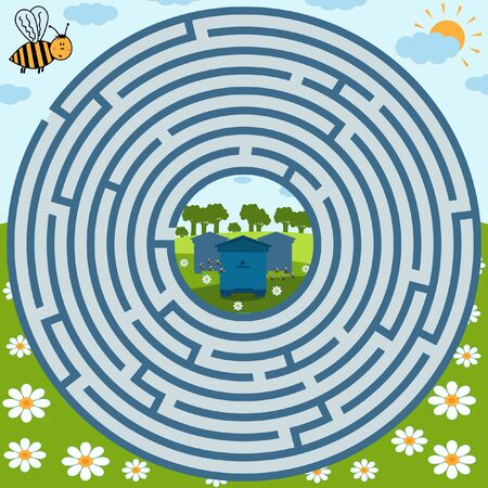 Maze puzzle on the theme of nature, where the bee must find the way to the apiary, the shape of the maze is round, color vector illustration, education and entertainment for children, design of books and websites