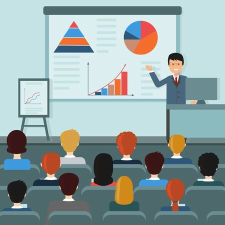 Illustration in flat style on the topic seminar consultation study in Economics with the image of the teacher's character and listeners, vector, design, decoration
