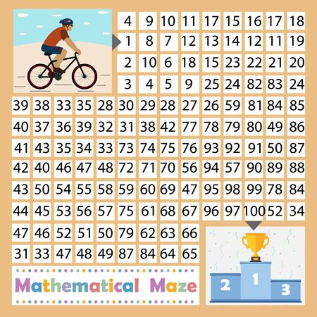 colorful math maze game for kids theme sport, help the cyclist take first place and get the Cup background blue, vector illustration, education, design children's books