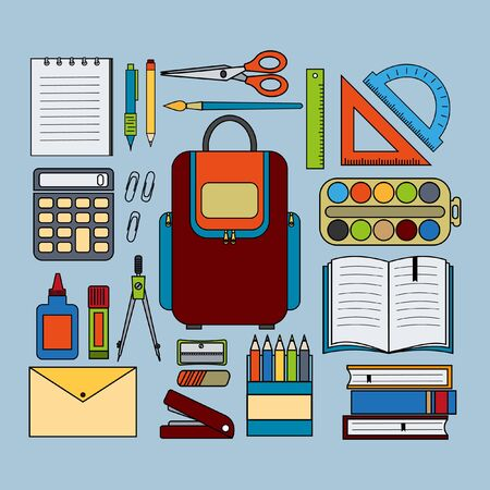 Office school kit set with backpack, made in flat style, color vector illustration, blue background, banner, design, decoration Illustration