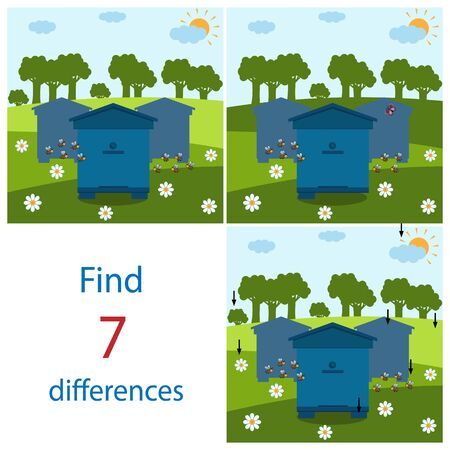 Maze game for children on the theme of nature and bees, find 7 differences between pictures, color vector illustration Çizim