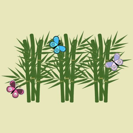 Gentle summer illustration on the theme of nature with bamboo leaves and butterflies, green background, vector illustration