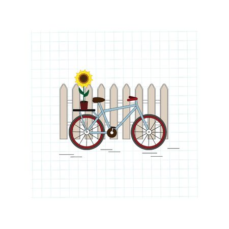 Romantic illustration on a checkered sheet with the image of a giant standing at the fence with a sunflower flower in a pot, vector
