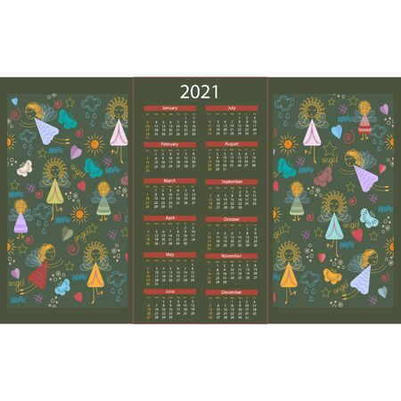 texture calendar for 2021, with the image of angels and other decorative elements, vector illustration