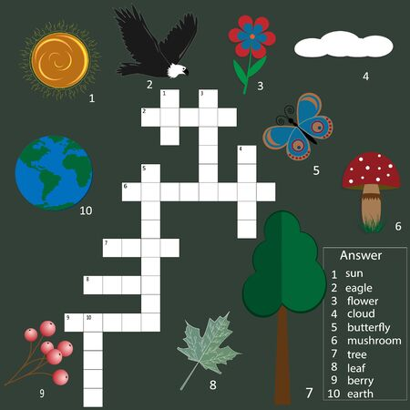crossword puzzle game for children on the theme of nature, colorful with pictures and answers