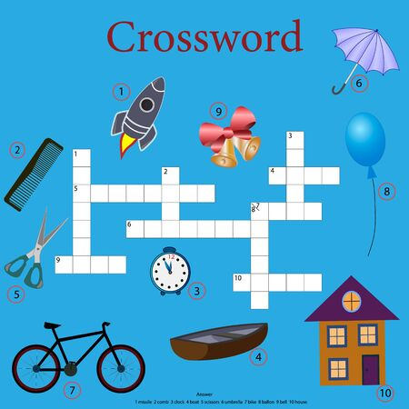 Crossword puzzle for children with various objects and objects that surround us, with answers, vector illustration