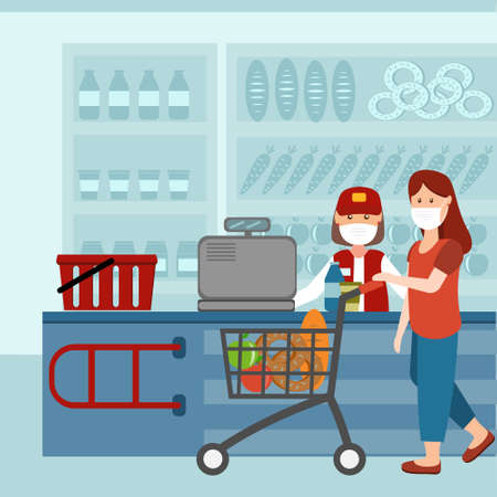 Woman at the checkout of a grocery store in a medical protective mask against the virus, color illustration in flat style, design, decoration
