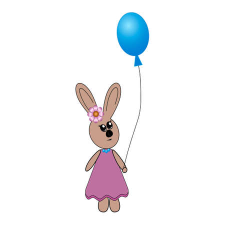 Abstract hare character in a dress and beads holding a ball, isolated illustration, white background, suitable for decorating children's books or postcards 矢量图像