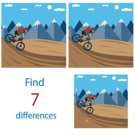 find 7 differences between images with a cyclist illustration