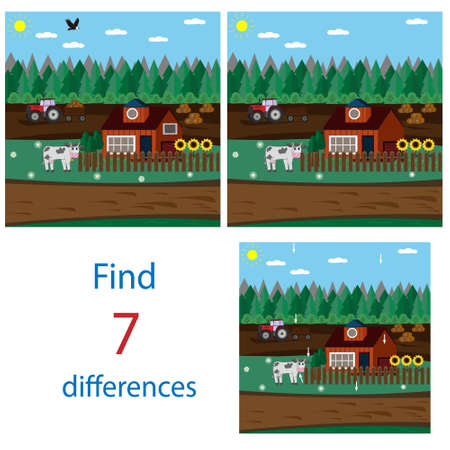 Entertaining task for children find differences in pictures