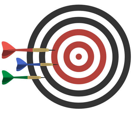 Color illustration of a dartboard and three multicolored Darts isolated on a white background