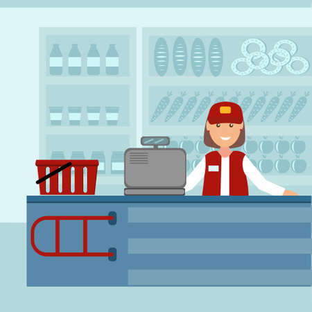 Seller cashier at the checkout in a grocery store on the background of a refrigerator and counter, color illustration in flat style