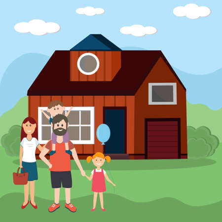 family of four parents and children on the background of a new purchased house, color illustration in flat style