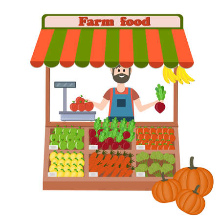 farm organic food store fruits and vegetables with a male seller, color illustration in flat style Vecteurs
