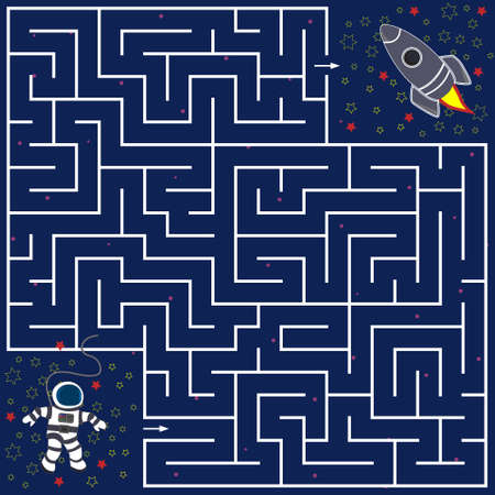 Maze game for children help the astronaut find the way to the rocket, background blue with stars, vector illustration, education and development of children