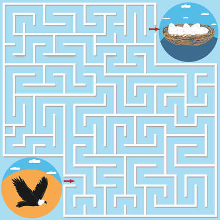Maze game for children on the theme of nature, help the eagle find the way to the nest with eggs, background blue, vector illustration, flat design