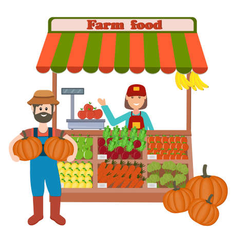 shop with vegetables and fruits with a seller and a farmer, color vector illustration in flat style on a white background, banner, design, decoration