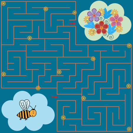 Maze puzzle for children bee and meadow with flowers need to find the way, colorful vector illustration