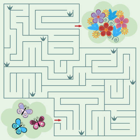maze game for children on the theme of nature butterflies and flowers, colorful  illustration, light green background