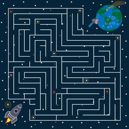 Task maze for children, you need to pave the way from one space object to another, the theme of space
