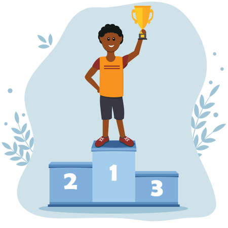 Male athlete on the podium in the first place holding the prize gold Cup, color  illustration in the style of flat