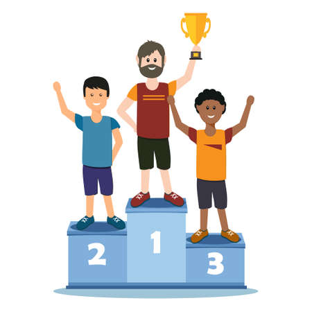 male athletes stand on the podium,  illustration in flat style