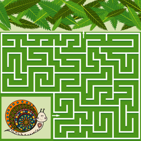 Colorful maze game for children on the theme of nature, help the snail find the way to the leaves, green background, vector illustration