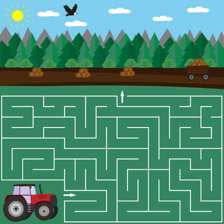 Colorful maze puzzle for children Tractor and field with hay, find the way, vector illustration