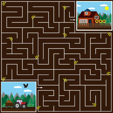 Maze game for kids help the tractor to get home on the field, the brown background, vector illustration