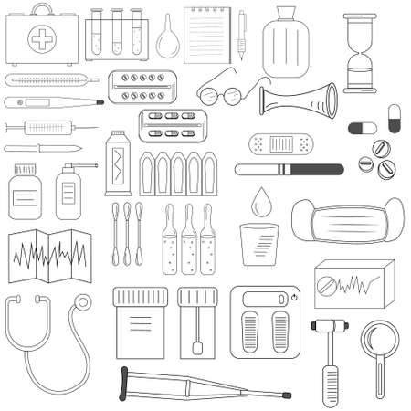 set the Doodle on the topic of medicine black outline, white background, vector illustration, design