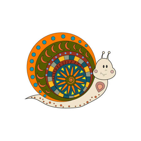 Multi-colored isolated snail on a white background with an ornament, vector illustration, decor, applique