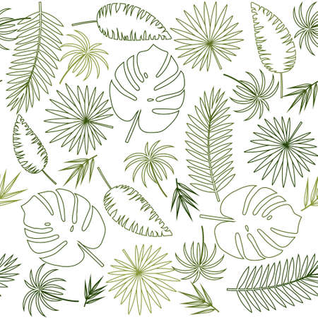 pattern of tropical leaves with a green outline on a white background, color vector illustration, texture, print, background, design, decoration