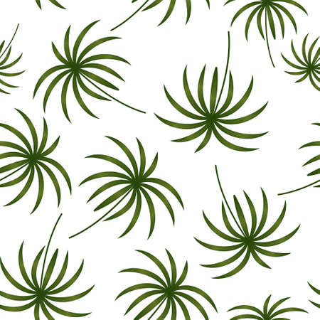 pottern of tropical green leaves on a white background, vector illustration, design, decoration, poster, banner