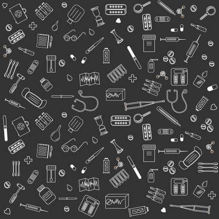 medicine pattern white outline black background, vector illustration, design, background