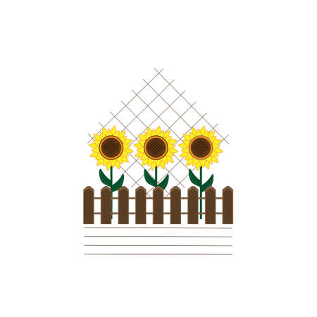 illustration on the theme of nature with the image of 3 sunflower flowers located behind a fence with decorative elements, vector illustration Illustration