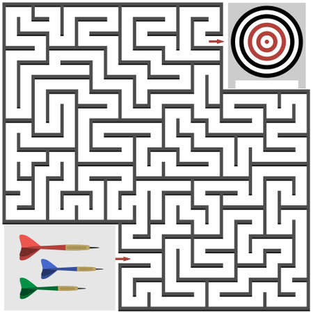 Maze game on the theme of sports, help the dart to hit the target, vector illustration, entertainment and education of children, development of mindfulness, design of children's books