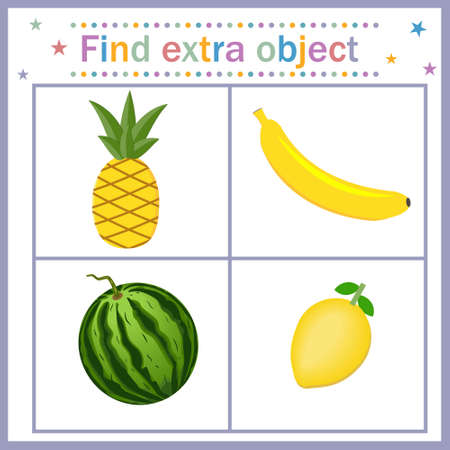 Card for children's development, Find an extra object where the fruit is yellow and one is green, watermelon is superfluous. Vector illustration. Design of children's books, preschool education Çizim