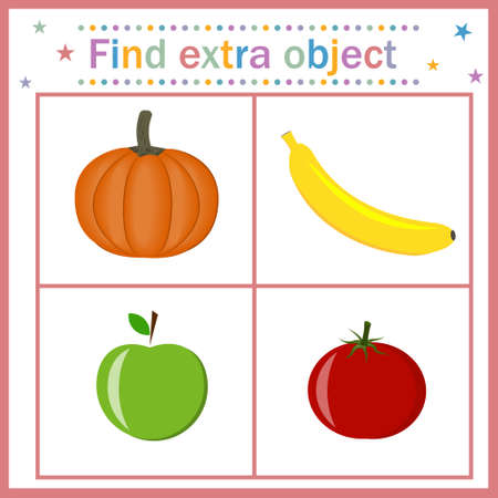Card for children's development, Find an extra object that shows fruits and vegetables of a round shape, a banana of another shape that is superfluous. vector, illustration. Design of children's books