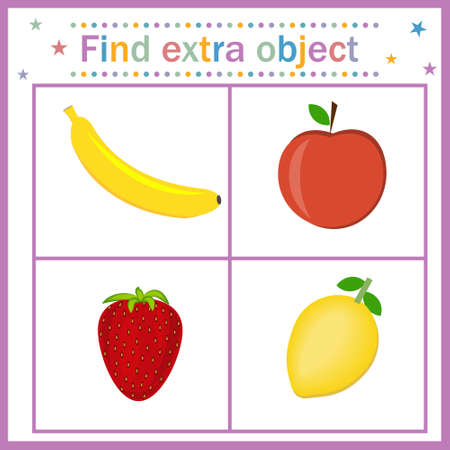 Card for children's development, Find an extra object where the fruit is shown three fruits and one berry, the berry is superfluous. Vector illustration. Design of children's books, preschool educatio