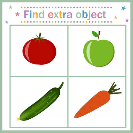 Card for children's development, Find an extra object that shows a fruit among vegetables that is superfluous. Color vector illustration. Design of children's books, preschool education