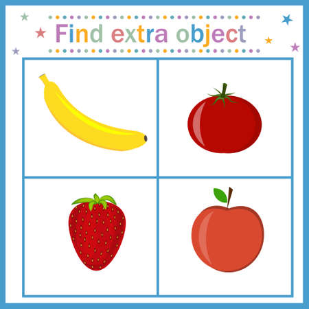 A card for children's development, Find an extra object where fruits and berries are shown in red and a banana is yellow, the banana is superfluous. Vector illustration. Design of children's books, pr