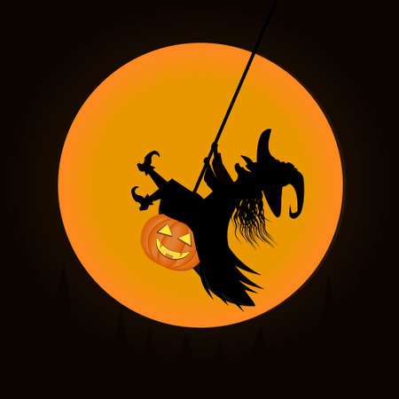 Witch swinging on a pumpkin on a moon background, color vector illustration for Halloween, design, decoration, banner, poster